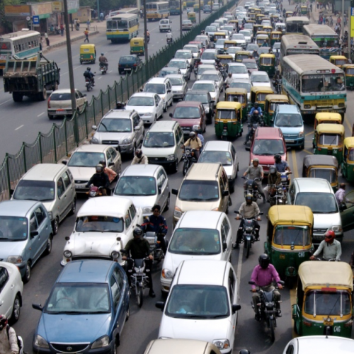 Photo of traffic in Delhi